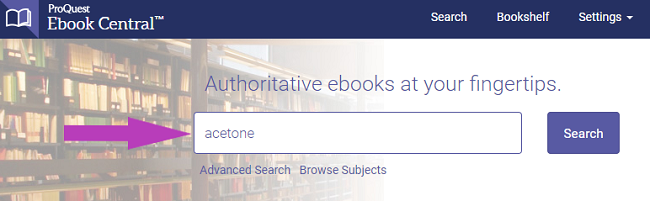 Ebook Central search box with acetone entered