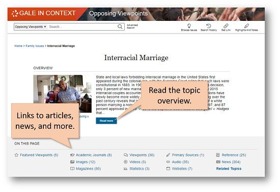 Interracial Marriage topic page. Click Read More to read an overview. Use links to academic journal articles, magazines, news, and more.