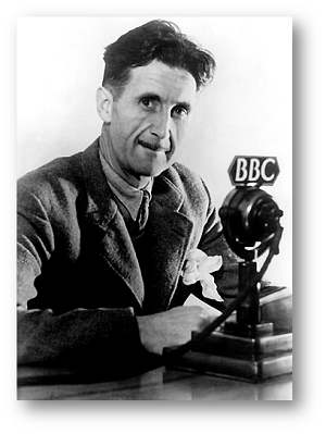George Orwell seated behind a BBC microphone