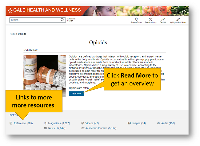 Gale Health and Wellness topic page