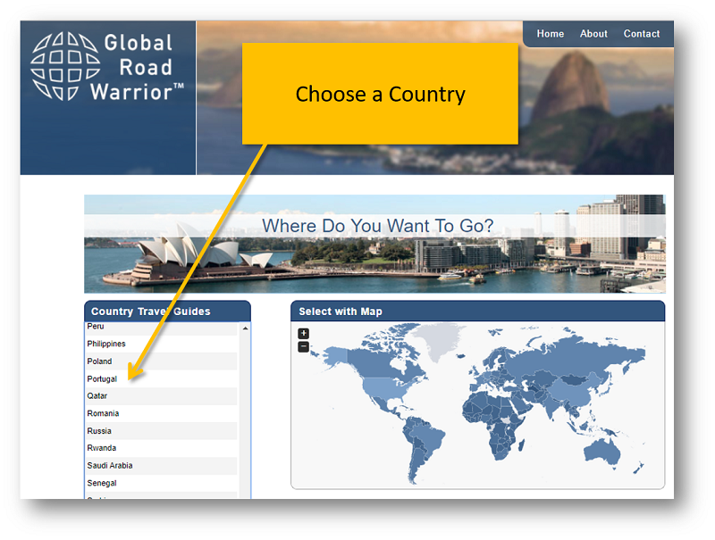 Choose a Country by scrolling through the list or by clicking the country on the map provided.