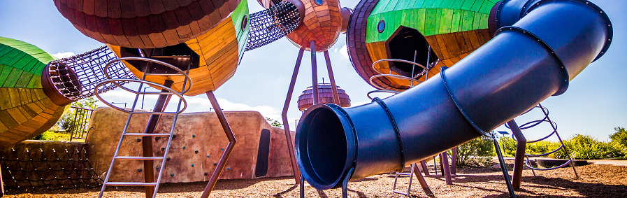 Colorful playground equipment.