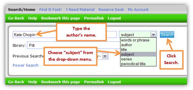 Library catalog search box with a subject example.