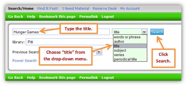 Library catalog search box with a title example.