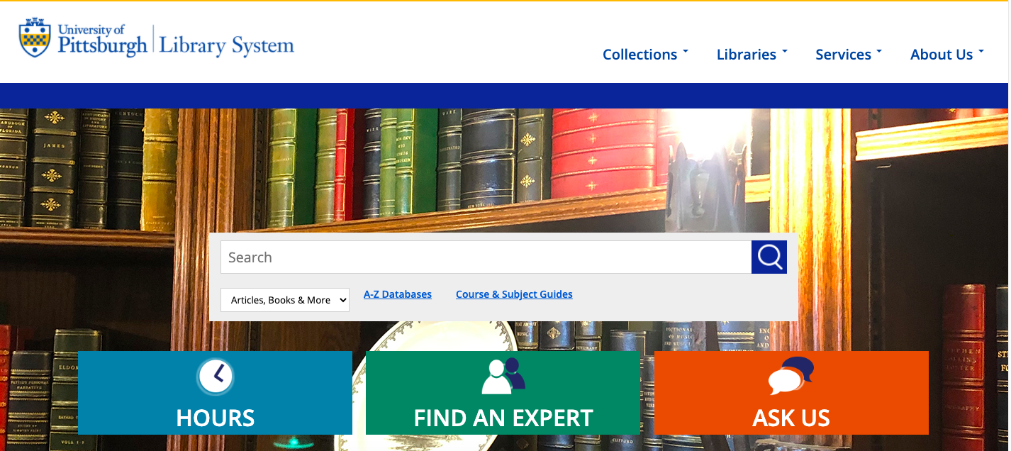 screenshot of the ULS homepage