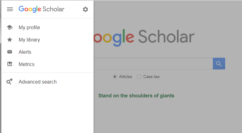 location of the hamburger icon and advanced search on Google Scholar in the upper left portion of the window