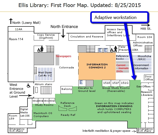 Ellis Library first floor map with location of adaptive workstation