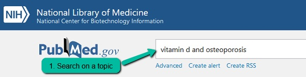 PubMed results page