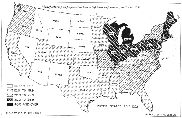 Manufacturing employment as a percent of total employment by state, 1950