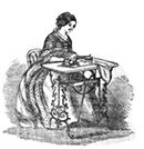 Lady at sewing machine, 1859