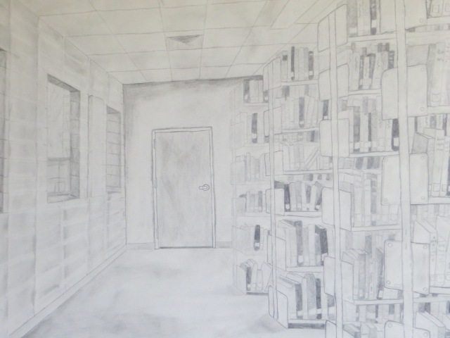 Library,  pencil sketch, Kelby Newcomb