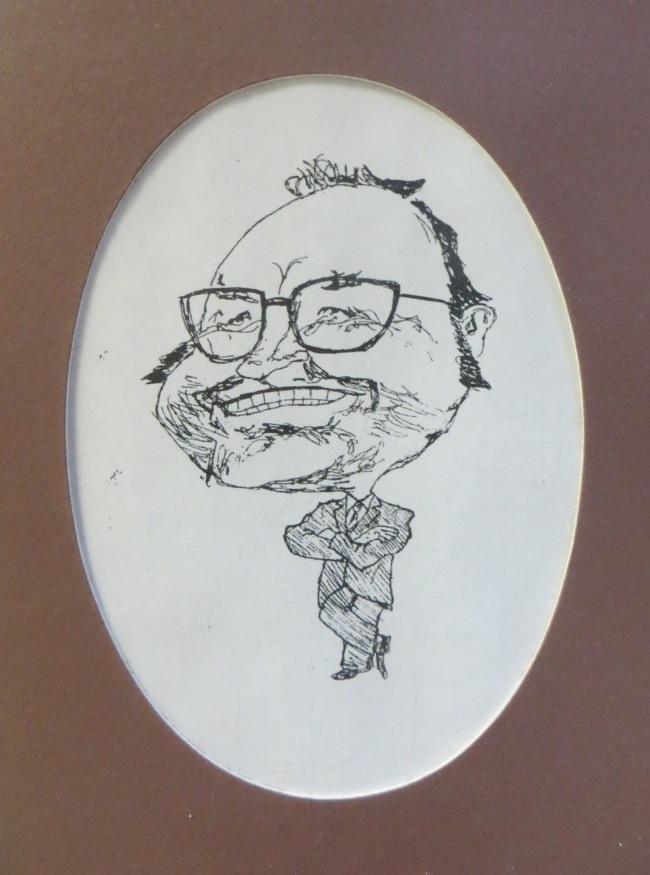 Caricature of Dr. Fitzhugh Spragins, Wood, 1972