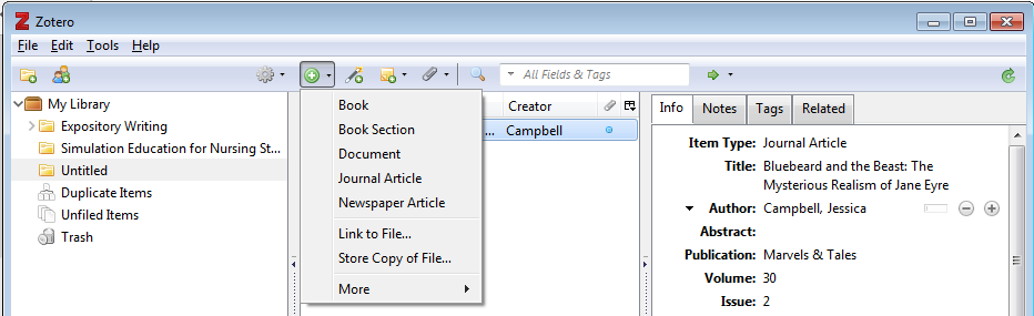 Screenshot of Zotero showing menu to add citation manually.