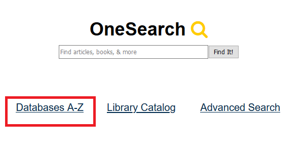 library homepage, databases