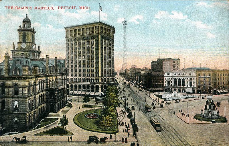 1914 view of Campus Martius Park downtown Detroit, Michigan.