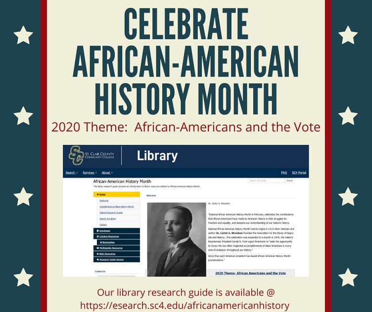 celebrate african american history month @ https://esearch.sc4.edu/africanamericanhistory