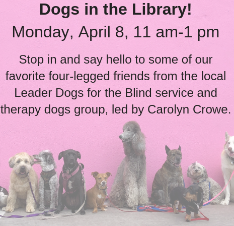 dogs in the library announcement
