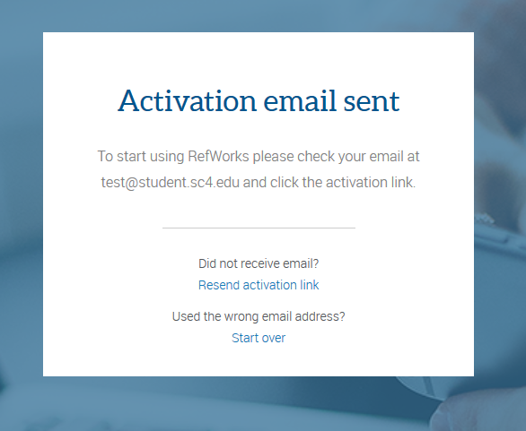 refworks activation email sent