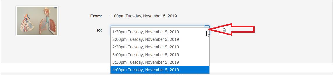 change item booking time
