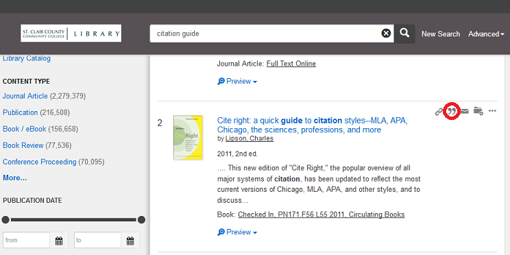 citation location in onesearch