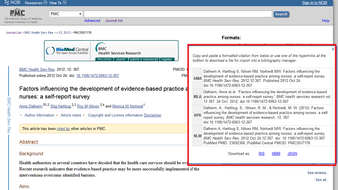 citing in pubmed