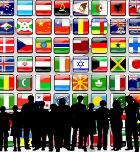 world flags and people