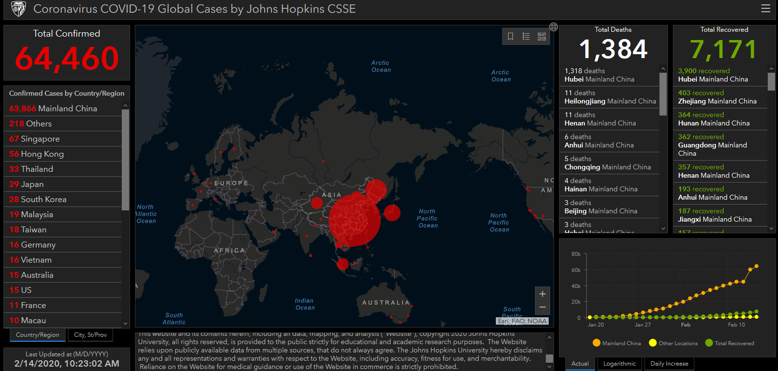johns hopkins coronavirus map