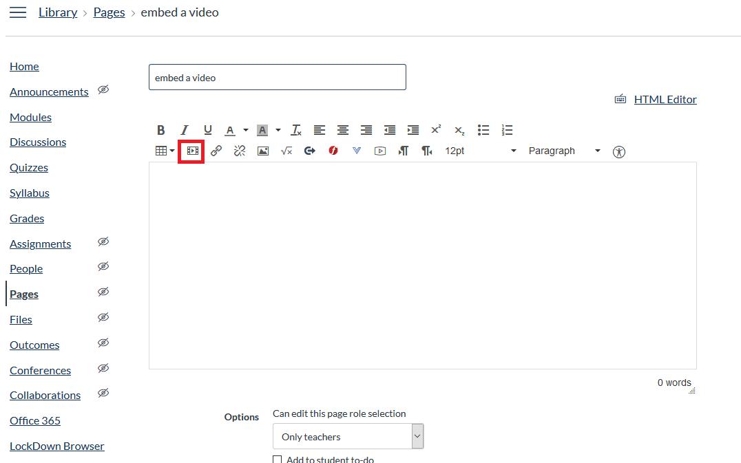 insert/edit media symbol in rich content editor