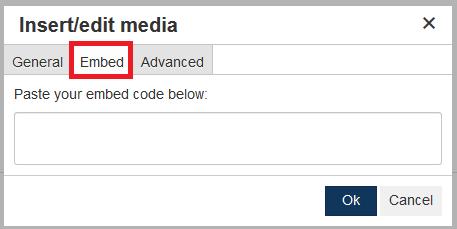 insert edit media embed tab