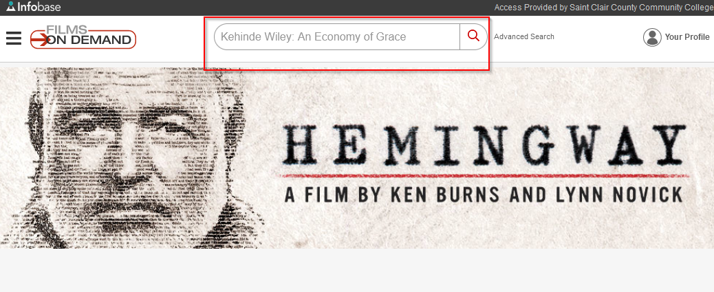 searching in films on demand