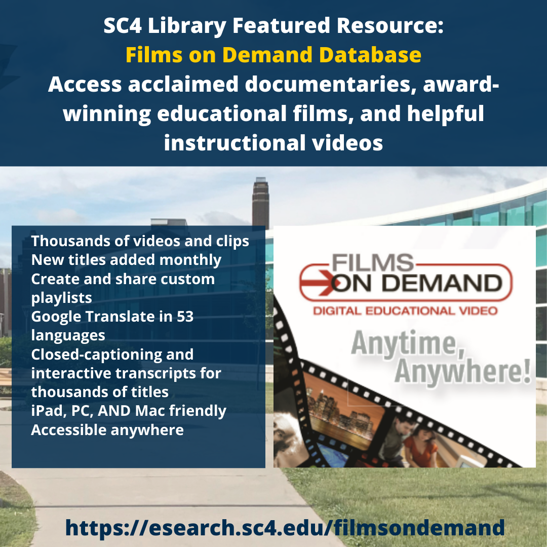 sc4 library featured resource: films on demand database - access acclaimed documentaries, award-winning education films, and helpful instructional videos