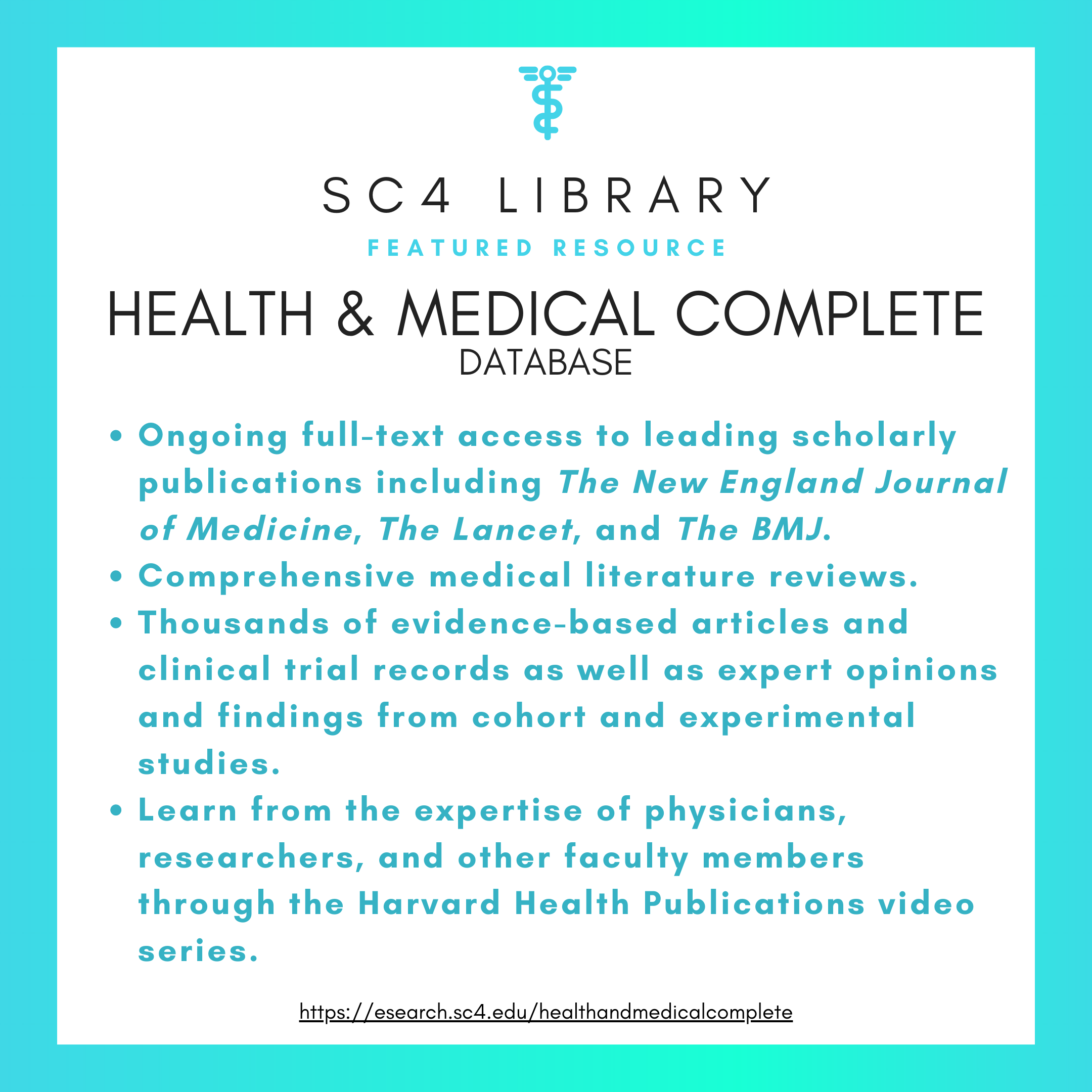 SC4 Library Featured Resource: health & medical complete database