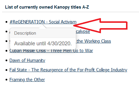 hover over kanopy title to view expiration date