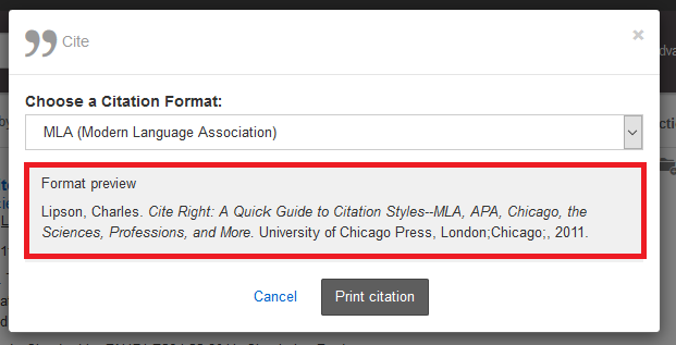 mla citation in onesearch