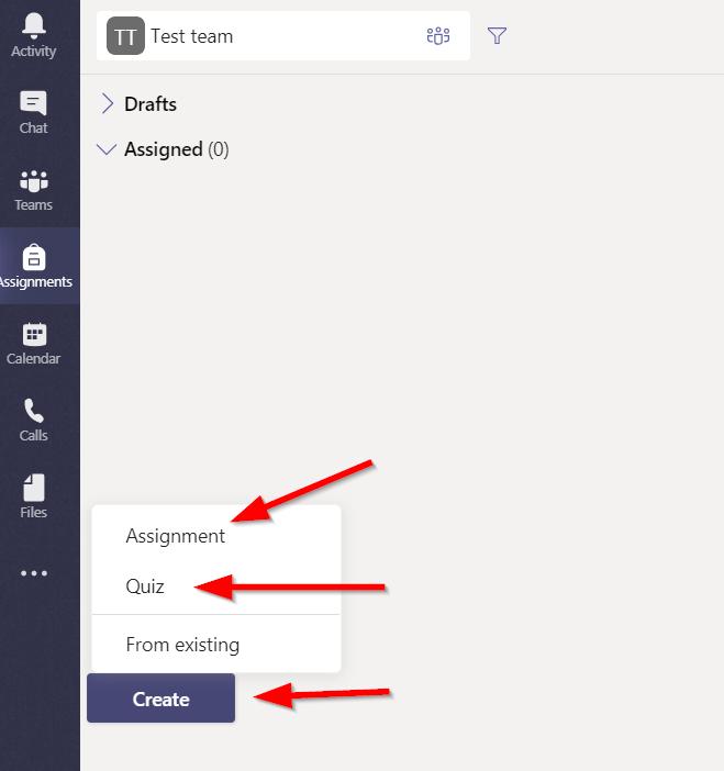 create assignment or quiz