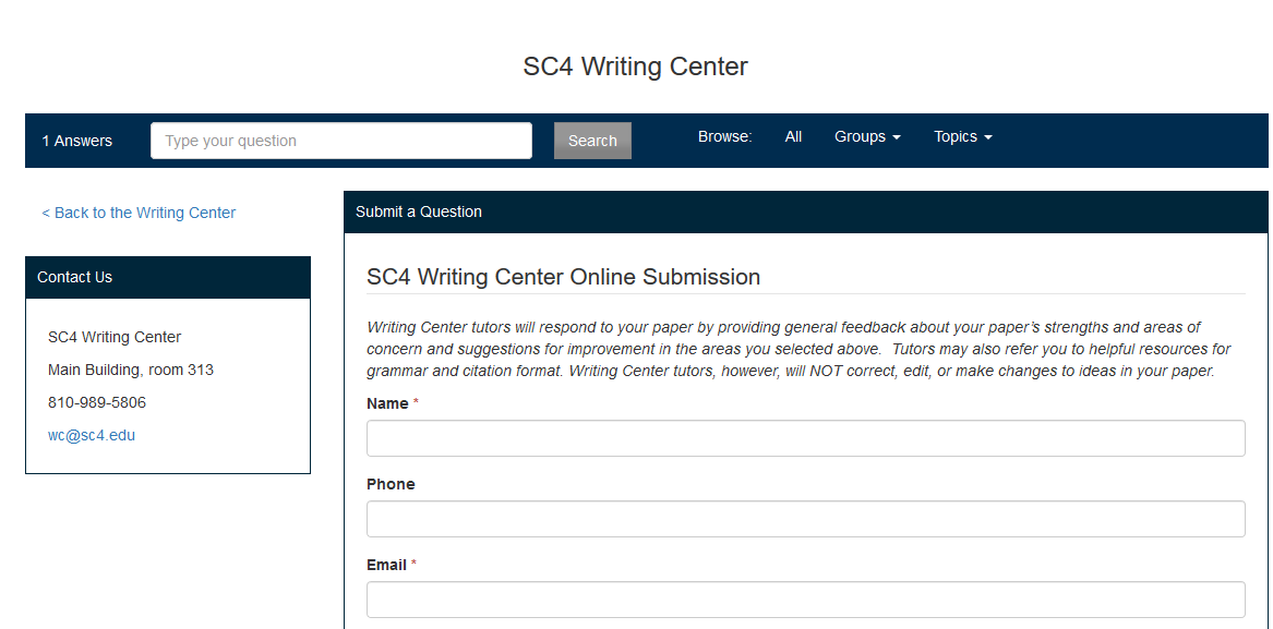 writing center paper submission form