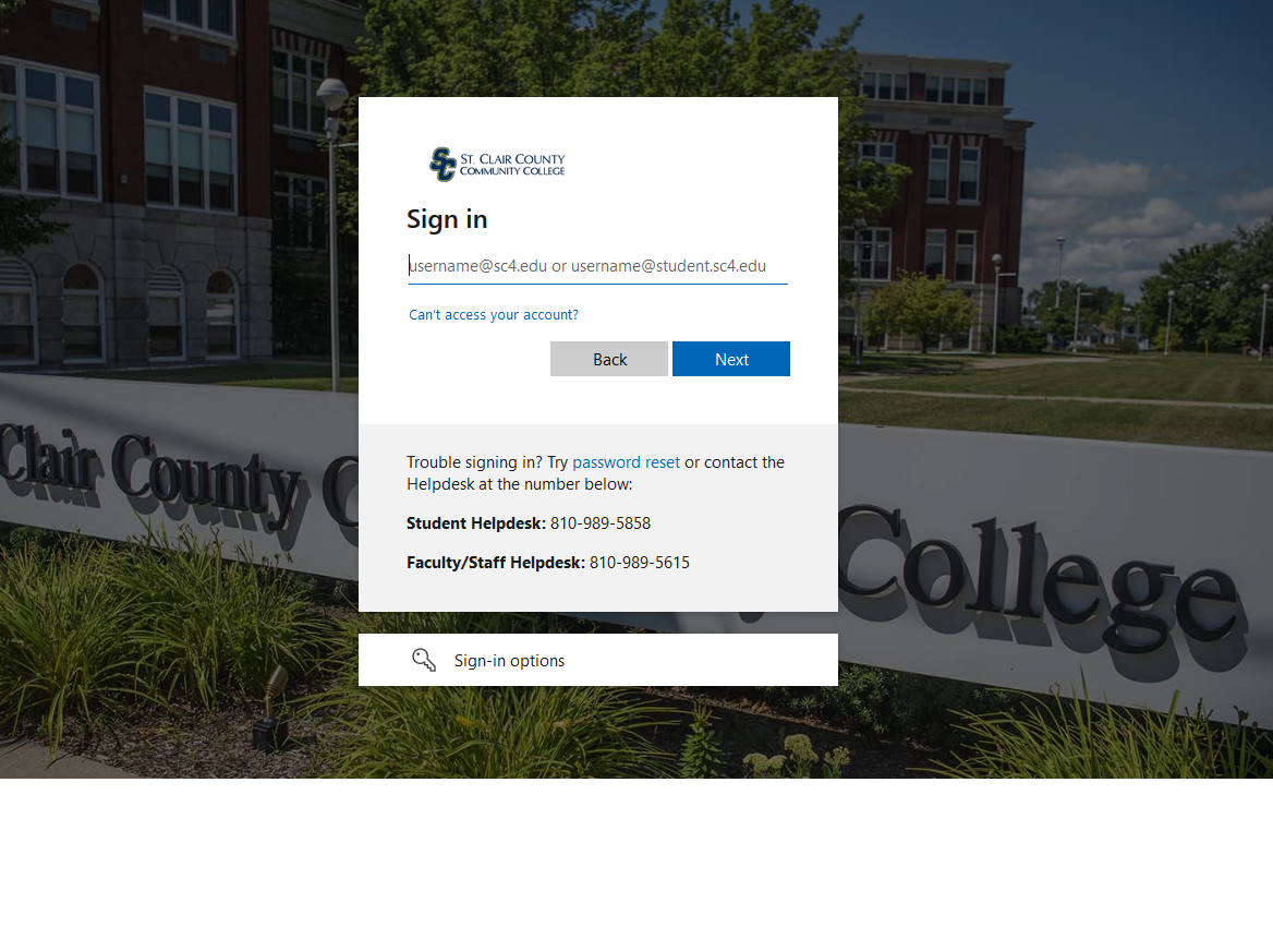 off campus log-in screen