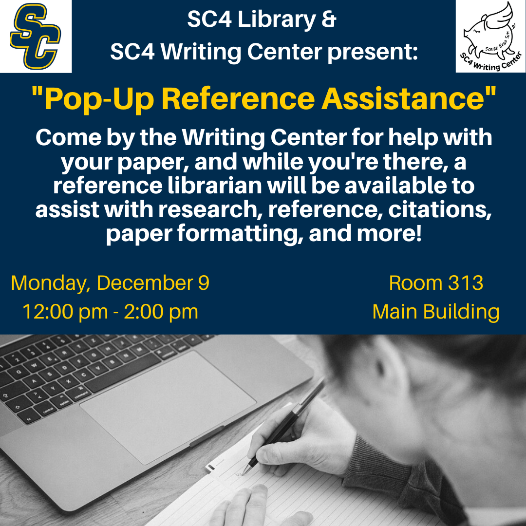 sc4 library & sc4 writing center present pop-up reference assistance