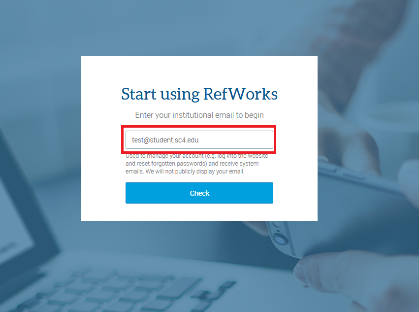 refworks enter email page