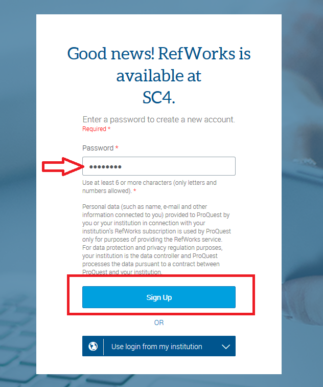 refworks enter password and sign up
