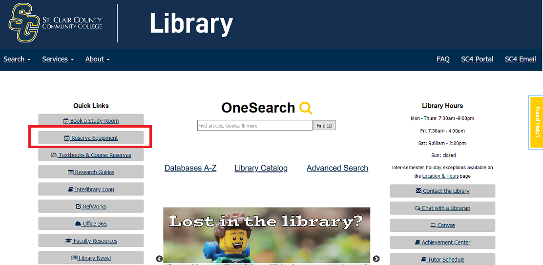 reserve equipment button on library home page