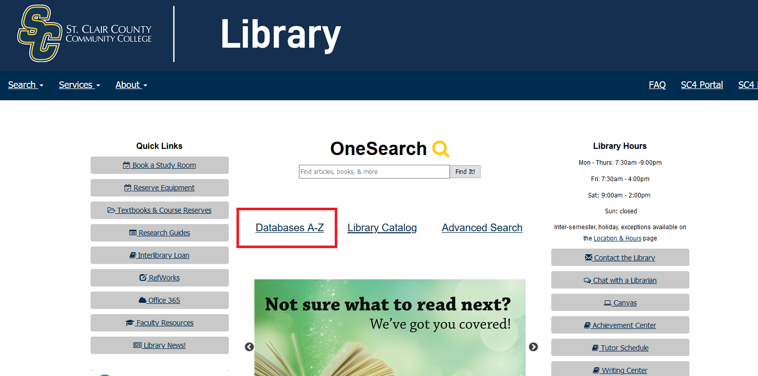 sc4 library homepage- databases
