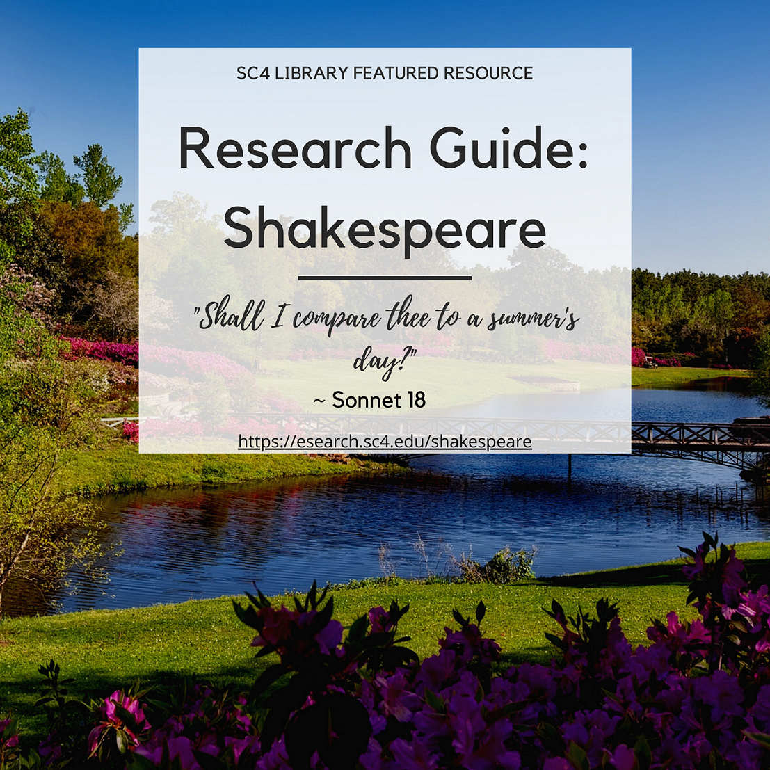 sc4 library featured resource: shakespeare research guide