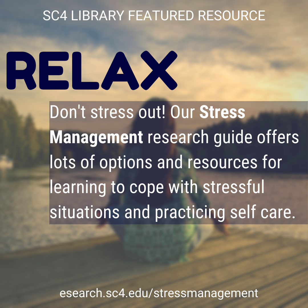 relax! don't stress out! our stress management research guide offers lots of options and resources for learning to cope with stressful situations and practicing self care