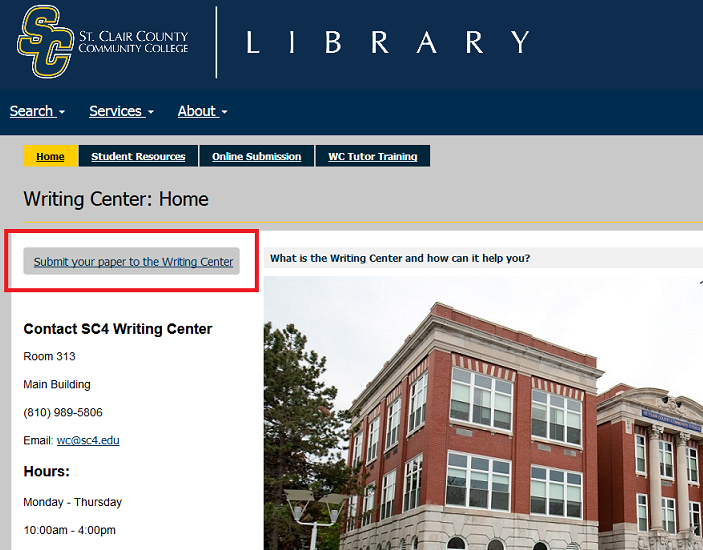 writing center submit button location