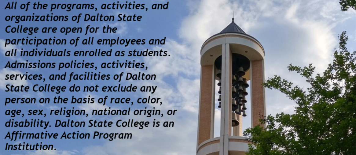 Dalton State College Notice of Nondiscrimination on background of DSC sky and bell tower