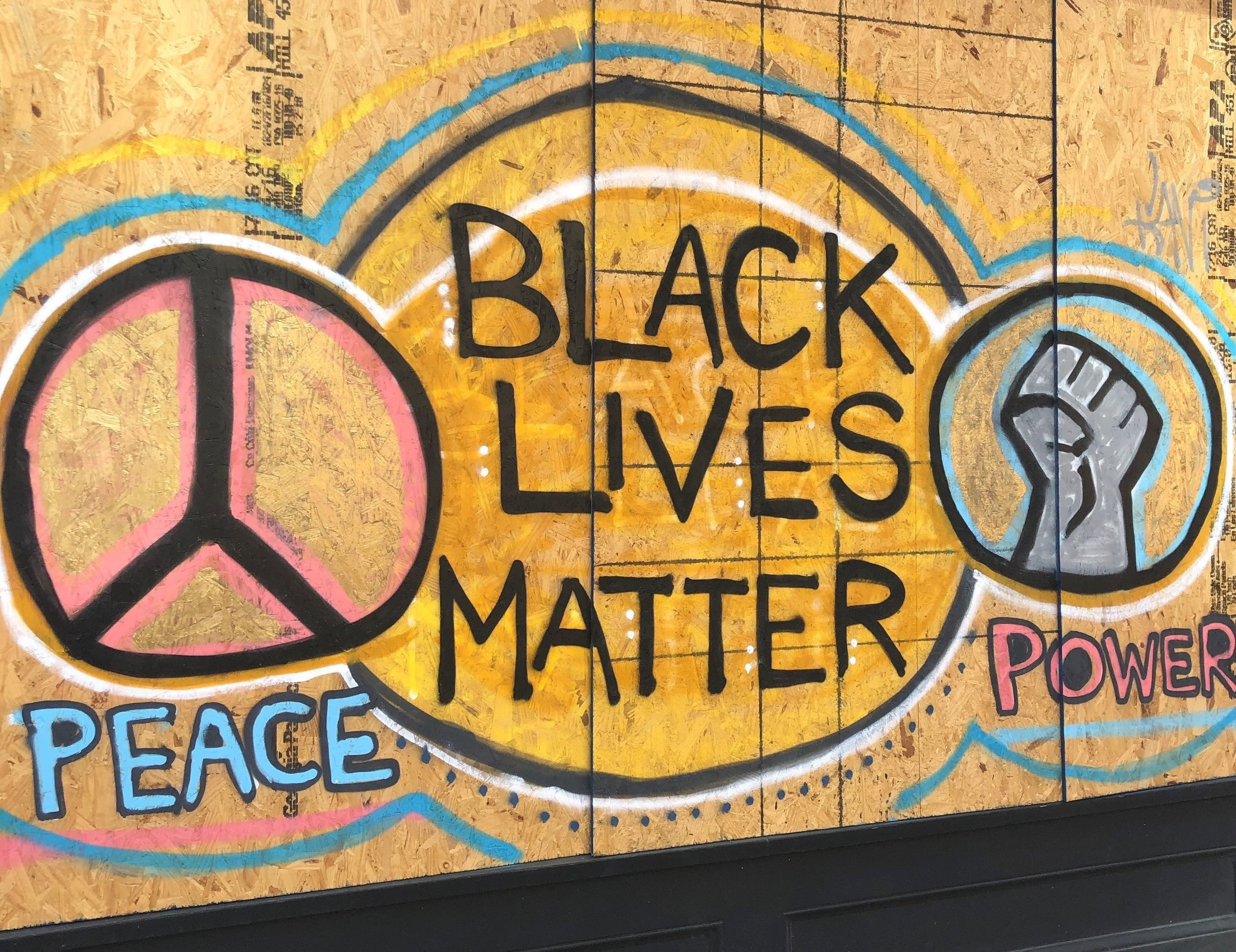 A sign painted on plywood that says Peace, Black Lives Matter, and Power, with peace and power fist symbols.
