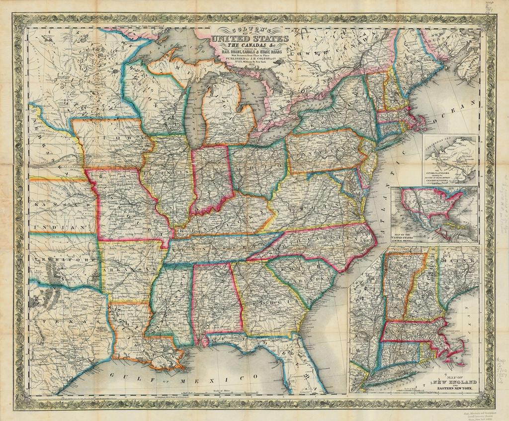 Railroad Map of the United States in 1856