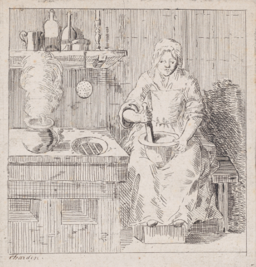 illustration of a french woman in a kitchen, 18th century
