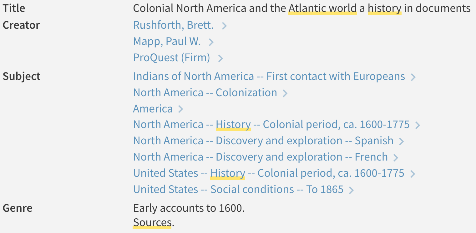 subject headings for genres related to atlantic world